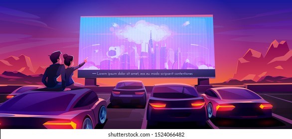 Couple at car cinema. Romantic dating in drive-in theater with automobiles stand in open air parking at night. Man and woman sitting on auto roof watching thriller movie. Cartoon vector illustration