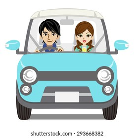 Couple Car Driving, front view