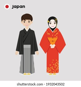 Couple of cartoon characters in Vietnam traditional costume vector