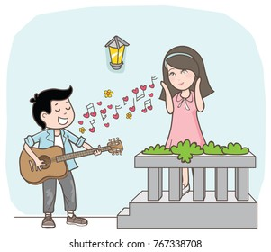 couple cartoon with love song vector