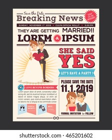 Couple Cartoon Newspaper Journal Wedding Invitation Vector Design Template