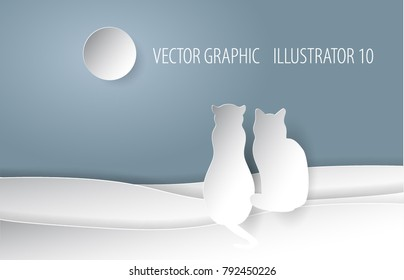 couple cat in moon night, paper cut style