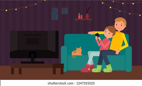A couple with a cat watching tv at home. Vector  Merry Christmas and Happy New Year background.  Greeting card and Ecard vector banner invitation.