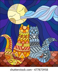 A couple of cats in stained glass abstract style sitting on the roof against the sky and the moon