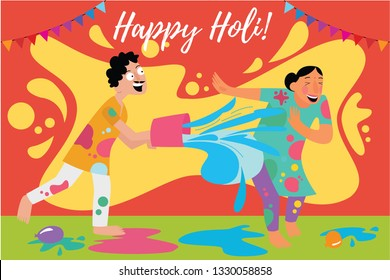 Couple celebrating holi with colours & water