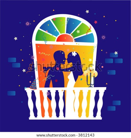 couple celebrating romantic dinner on windos stock vector royalty