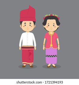 Couple Character Wearing West Nusa Tenggara Traditional Dress