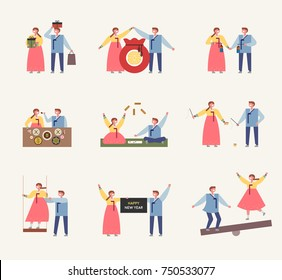 Couple characters showing various cultures of Korean traditional New Year. vector illustration flat design