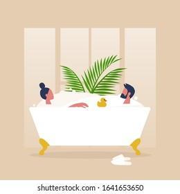A couple of characters taking a clawfoot vintage bathtub full of soap foam together, relaxation and body treatment, romantic relationships
