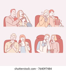 Couple characters watching movies at the theater hand drawn illustrations. vector doodle design