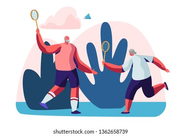 Couple of Cheerful Male Pensioners in Sports Wear Playing Badminton Outdoors. Senior People Healthy Lifestyle and Sport Life. Elderly Men Spend Time Together in Park. Cartoon Flat Vector Illustration