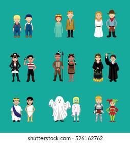 Couple Children Costume Cartoon Characters