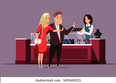 Couple choosing jewelry flat vector illustration. Husband buying golden diamond ring for wife cartoon characters. Boyfriend and girlfriend selecting wedding ring, man purchasing present for woman