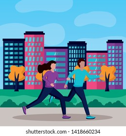 couple in city park running activity vector illustration