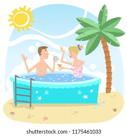 Couple with cocktails in whirlpool on sunny beach (vector illustration)