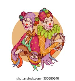 couple of colorfully dressed clowns with musical instruments
