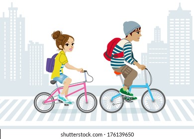 Couple Commute by Bicycle,in City Life