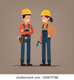 Couple of construction workers vector flat characters | Young man and woman friendly smiling workers in workwear overalls standing isolated | Building male and female specialists ready for work