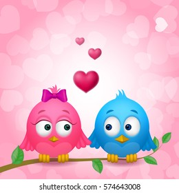 Couple of Cute Birds in Love and Hearts