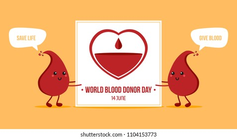 Couple of cute blood drop characters holding card for World Blood Donor Day. Vector illustration, banner, header.