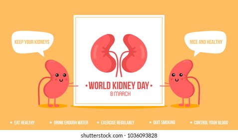 Couple of cute cartoon kidney characters holding card for World Kidney Day. Vector illustration, banner, header.