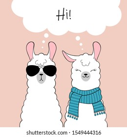 Couple of cute cartoon llamas. Greeting card or invitation template with place for text. Hand drawn illustration