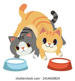The couple of cute cat drinking milk on the floor in strange pose flat vector style.