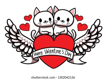 Couple Cute Cat on Heart with Wings and Happy Valentine's Day Banner