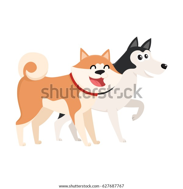 Couple Cute Funny Dog Characters Brown Stock Vector Royalty Free