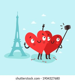 Couple cute hearts making selfie with smartphone and selfie stick near the Paris Eiffel Tower. Romantic tour. Valentine's Day vector card