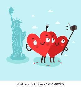 Couple cute hearts making selfie with smartphone and selfie stick near the  Statue of Liberty in New York. Romantic tour. Valentine's Day vector card. USA happy independence day concept