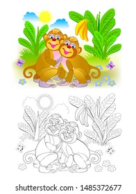 Couple of cute monkeys in the jungle. Colorful and black and white page for coloring book for kids. Fantasy illustration of animals. Printable worksheet for children and adults. Vector cartoon image.