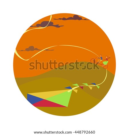 couple cycling in autumn, kite flying