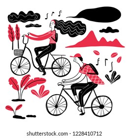 Couple cycling in the park, Collection of hand drawn. Vector illustration in sketch doodle style.