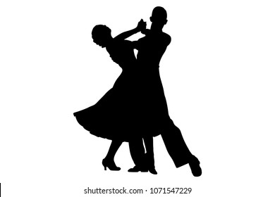 couple dancers black silhouette on competition in ballroom dancing