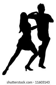 Couple dancers silhouette vector illustration