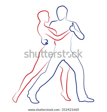 Couple Dances Tango Stylized Drawing Simple Stock Vector Royalty