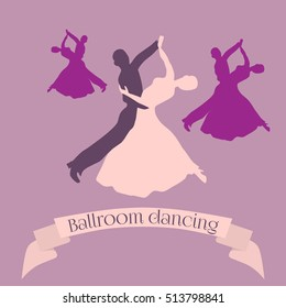 Couple dancing ballroom dance, vector logo