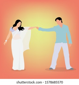 Couple Dancing in Bollywood Style. Indian Actor and Actress Choreographed Dance from Bollywood.