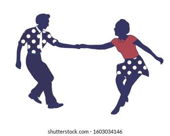 Couple dancing jazz swing isolated on white background. Clothes in pop art print polka dots. Vintage vector style 1950s. People in pop art clothes. Rockabilly, charleston, lindy hop or boogie woogie.