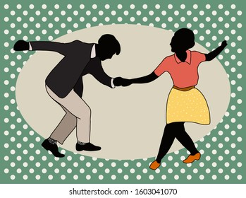 Couple dancing jazz swing isolated on polka dots background. Horizontal template copy space.Vintage vector style 1950s.Realistic,stylistic characters.Rockabilly,charleston, lindy hop or boogie woogie.