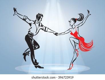 Couple is dancing jive. Sketch drawing vector.