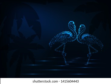 Couple of dancing and kissing flamingos standing in a water on dark night beach background with palm trees. Love, honeymoon wedding concept. Futuristic low polygonal vector illustration.