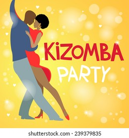 Couple dancing Kizomba in bright costumes. Vector illustration.