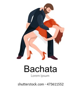 Couple dancing Kizomba in bright costumes. Vector illustration of partners dance bachata, happy peoples man and woman ballroom poster, roomba salsa latino dancer concept for flyer