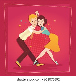 Couple dancing on stage. Vector illustration. Boogie woogie, lindy hop, swing dance.