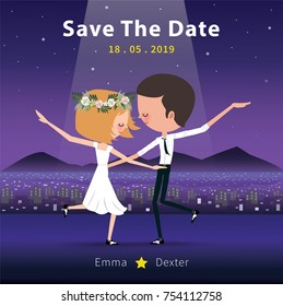 Couple dancing save the date invitation card, romantic dance in the moonnight
