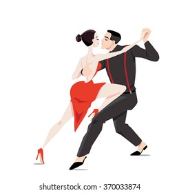 Couple dancing tango on a white background, vector