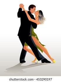 Couple dancing Tango - vector illustration