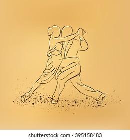 Couple dancing tango. Vector retro drawing illustration.